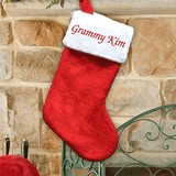 Classic Red Plush Christmas Stocking With Embroidered Name on White Cuff