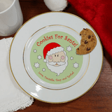 Personalized gold rimmed ceramic cookie plate just for Santa.