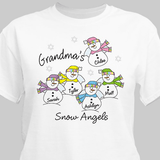 Personalized Grandma's Snow Angels T-shirt with up to 30 names in white, ash, or pink.