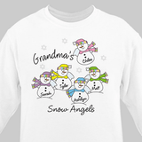Personalized sweatshirt for Grandma's Snow Angels available in white.