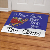 Personalized Christmas doormat with Santa in his sleigh and the message, Dear Santa, Please Stop Here!