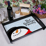 Christmas tray with cute snowman, personalized with any family name or message.