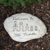 Garden Stone personalized with family stick figures to welcome guests to your home.