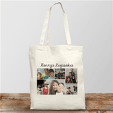 Personalized Canvas Photo Tote holds up to 6 photos and 20 character personal message.