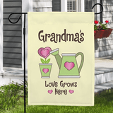 Personalized garden flag, Grandma's Love Grows Here