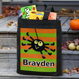 Black canvas Halloween Spider tote, personalized for your special boy.