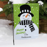 Personalized garden flag with super cute snowman for your happy holidays.