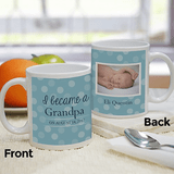 Personalized blue mug for a new Grandparent with the new baby's name, birthdate and picture.