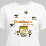 Personalized T-Shirt, Grandma's Little Honeys (White)