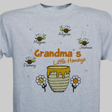 Personalized T-Shirt, Grandma's Little Honeys (Gray)