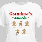 Grandma's sweets personalized gingerbread t-shirt in white.