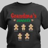 Grandma's sweets personalized gingerbread t-shirt in black.