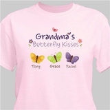 Personalized Butterfly Kisses T-Shirt...just for Grandma (Pink)