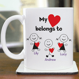 White ceramic mug is personalized with the people that your heart belongs to.