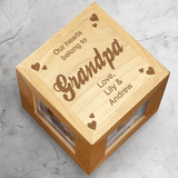 Personalized Photo Cube, Our Hearts Belong to Grandpa!