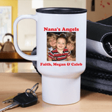 Personalized photo travel mug for a special grandma includes two lines of personal messages in red.
