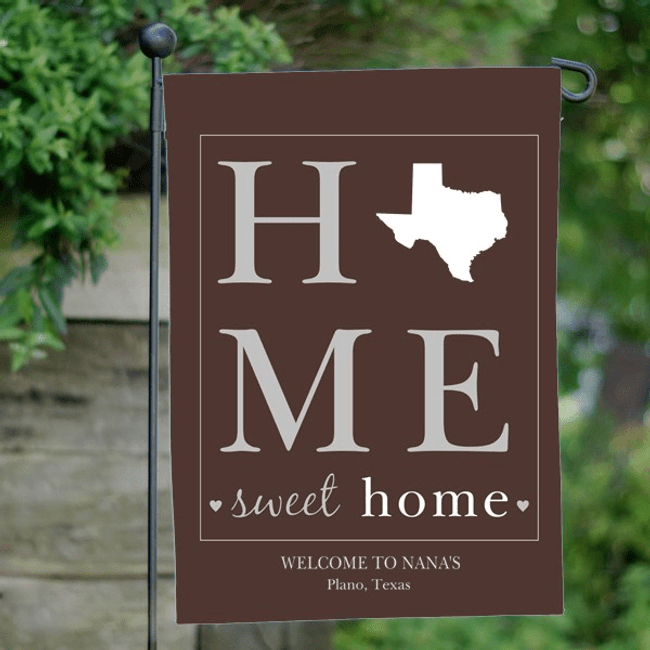 Personalized State Flag for Grandma - Home Sweet Home (Brown)