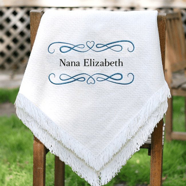 Beautiful and delicate afghan throw personalized for a special grandma.