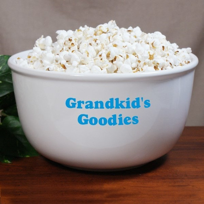 Personalized popcorn bowl for the grandkids.