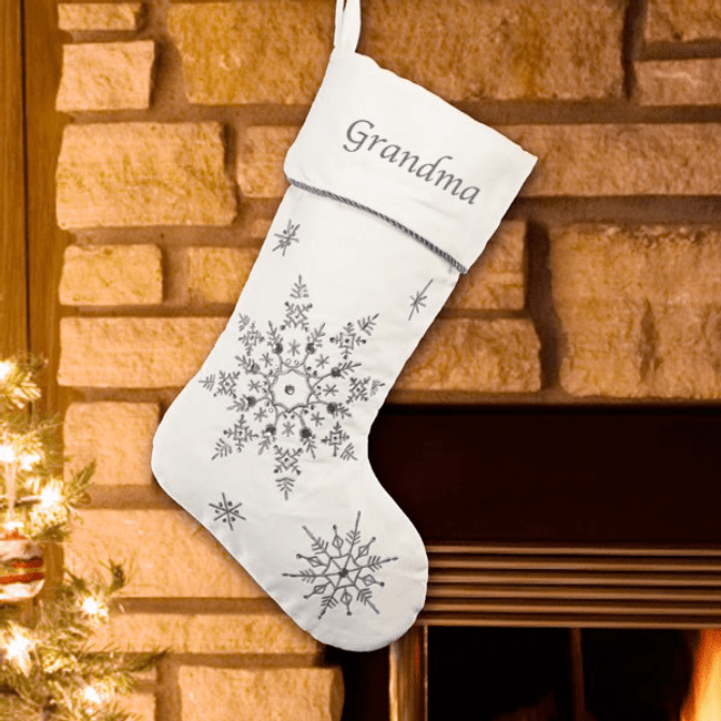 Embroidered white Christmas stocking with silver snowflakes and bead accents...just for Grandma!