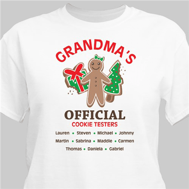 Official cookie tester personalized white t-shirt makes a fun gift for any special person on your Christmas list!