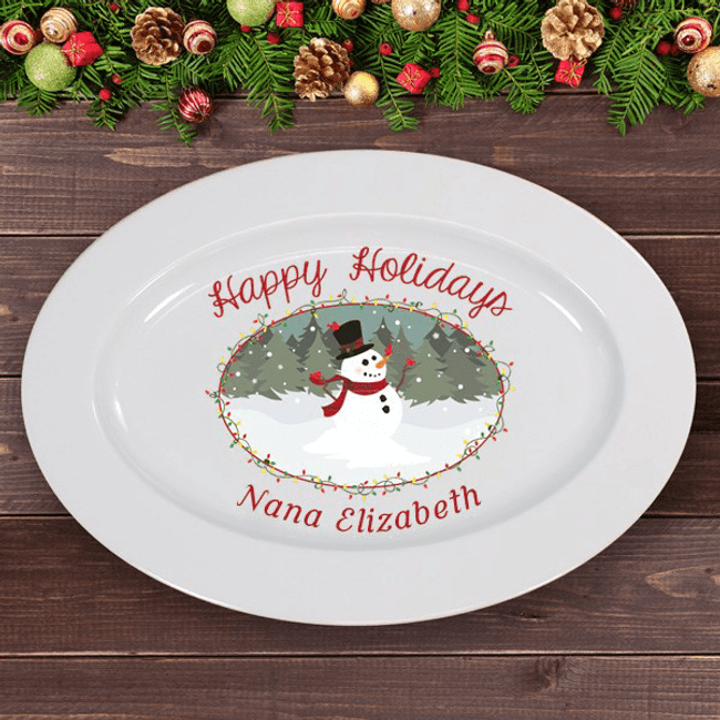 Personalized Happy Holidays Oval Snowman Platter for Grandma.