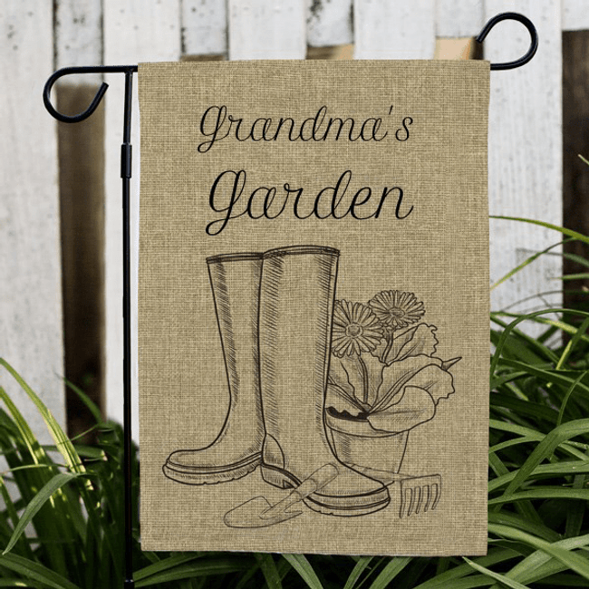 Personalized Burlap Flag for a Gardening Grandma