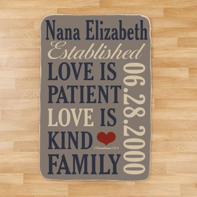 Personalized Sherpa Blanket...Love is a Grandma!