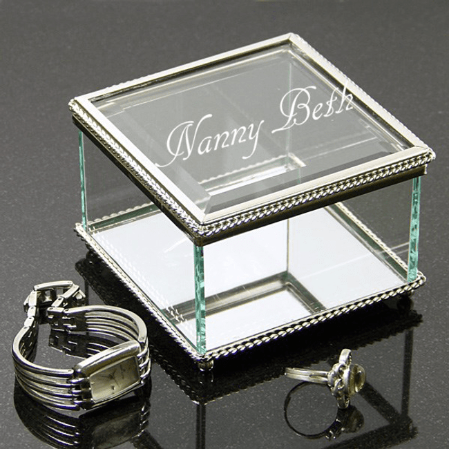 Personalized Glass Jewelry Box for Grandma
