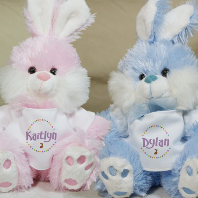 Plush Easter bunny, with personalized t-shirt in pink, blue.