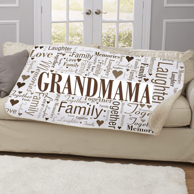 Personalized Sherpa Blanket...Family Word Art for Grandma