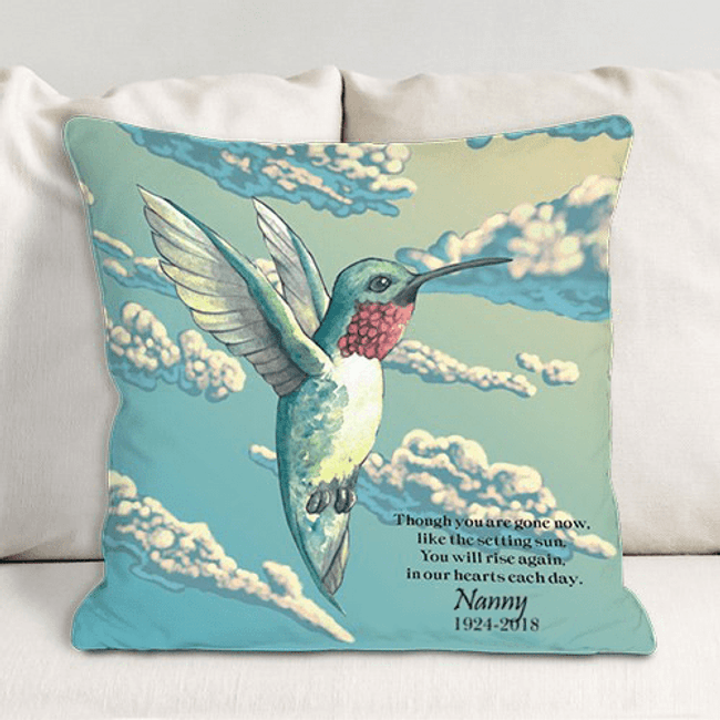 Personalized Humming Bird Memorial Throw Pillow for Grandma
