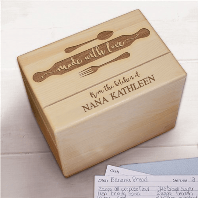 "Personalized ""Made With Love"" Recipe Box for Grandma"