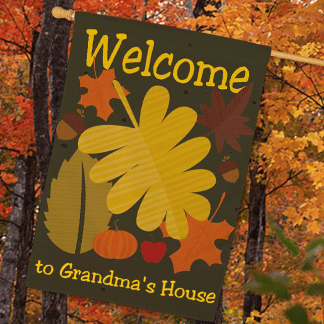 Personalized fall Welcome house flag for a special Grandma.