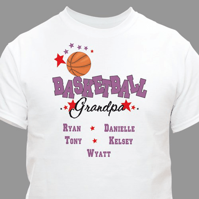 "Personalized ""Basketball GrandPa"" T-Shirt"