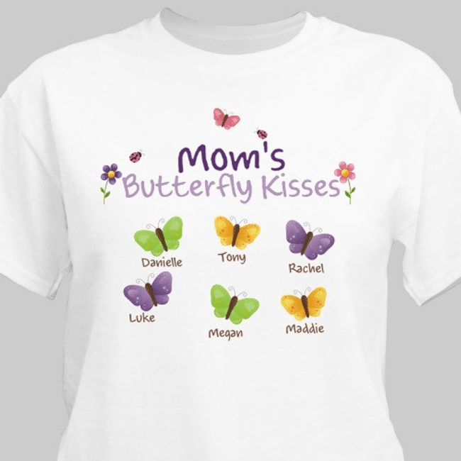 "Personalized T-Shirt ""Mom's Butterfly Kisses"" - White"