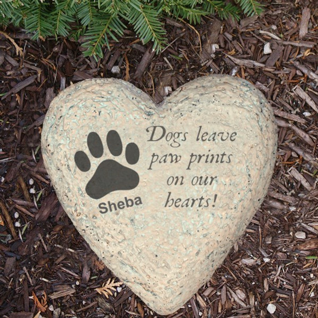 Personalized heart memorial garden stone for a special dog.