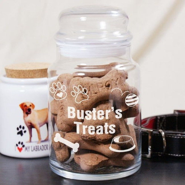Engraved glass treat jar for a spoiled dog.