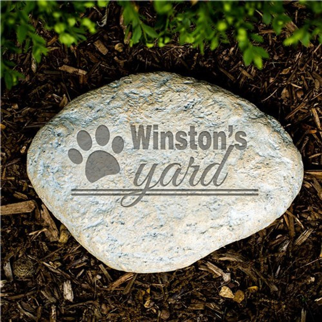 Personalized garden stone let's everyone know who actually rules the yard!