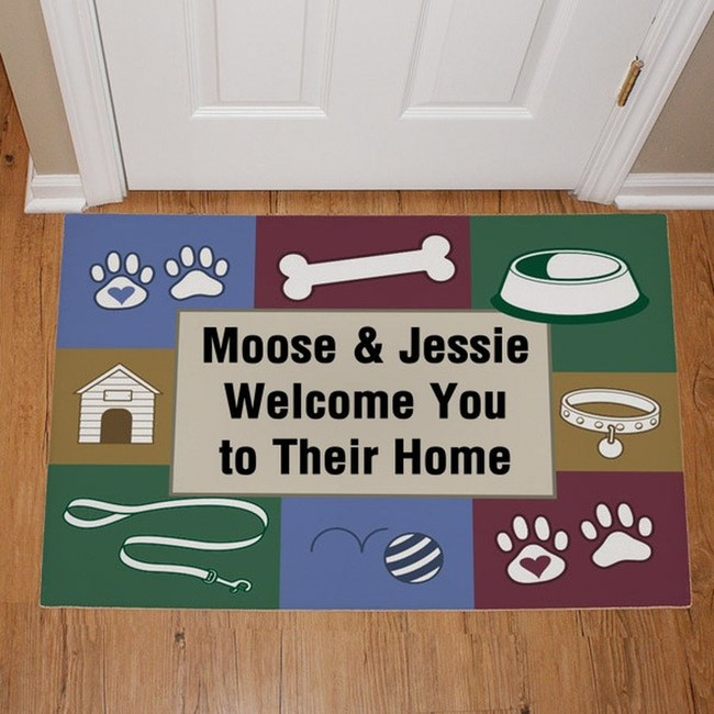 Personalized doggy doormat with 3 lines of custom text for your special dog lover.