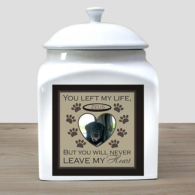 "Beautiful ceramic urn for a beloved pet, ""You Left My Life, But You Will Never Leave My Heart""."