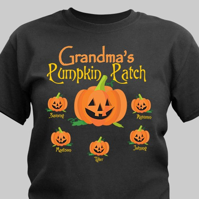 Personalized black Halloween t-shirt for a special Grandma and up to 30 grandkid names in her pumpkin patch.