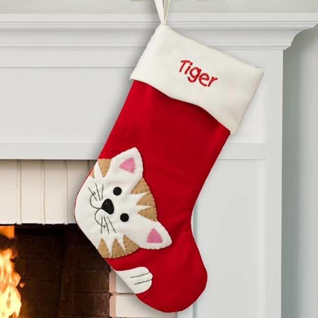 Red wood embroidered Christmas stocking for a very special cat.