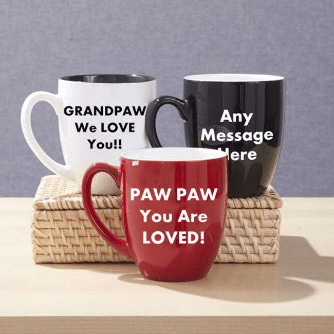 Large bistro mug can be personalized with 3 lines of text for a special grandpa - 3 Color Choices.