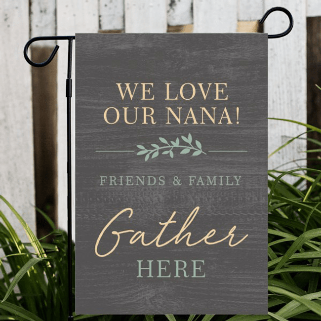 Beautiful garden flag personalized just for you.