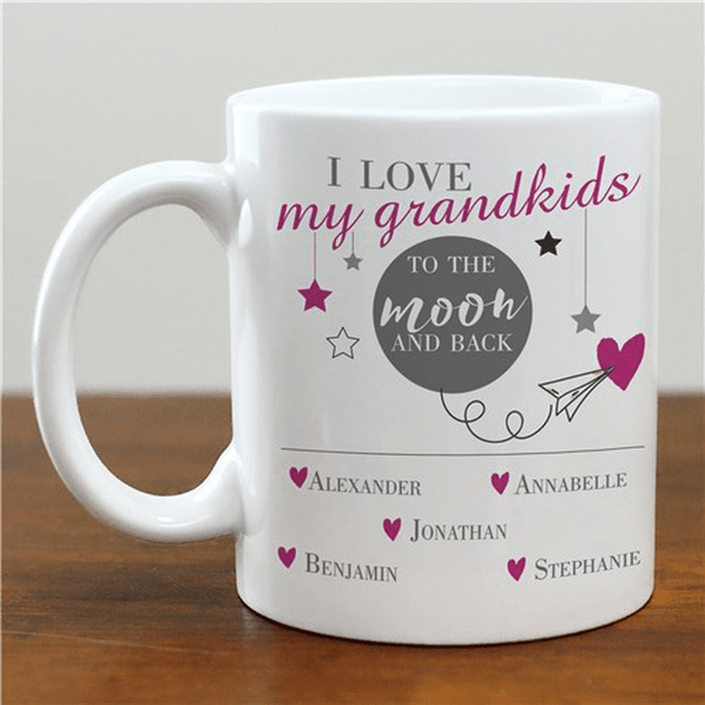 "Personalized Grandma or Grandpa Mug ""I Love My Grandkids To The Moon And Back"""