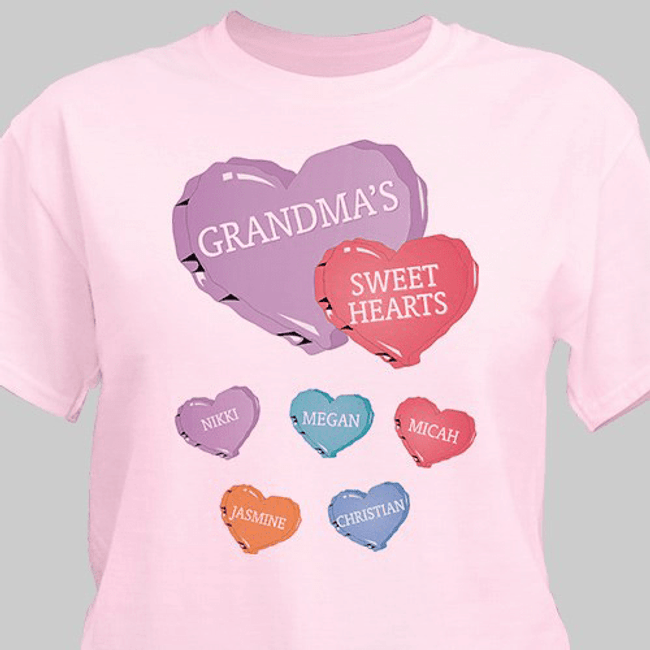 Personalized Grandma T-Shirt - Grandma's Sweet Hearts