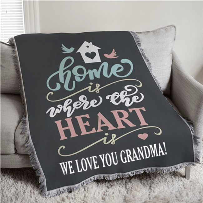 """Personalized Afghan """"Home Is Where the Heart Is"""" for Grandma (shown personalized with a special message)"""