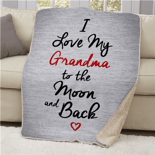 "Personalized Sherpa ""Love My Grandma to the Moon and Back"""
