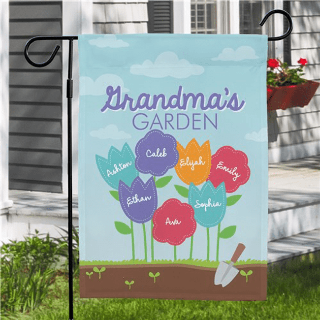 "Personalized ""Flower"" Flag for Grandma's Garden"